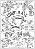 Cocoa, cacao, chocolate Vector set of Dessert Spices logos, labels, badges and design. Elements. Retro text. Vintage illustrations. White Chalkboard. Cacao Hand Royalty Free Stock Images