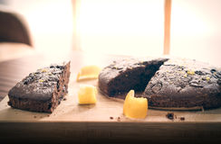 Cocoa cake with grated lemon Stock Photo