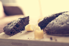 Cocoa cake with grated lemon and powdered sugar Royalty Free Stock Images