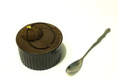 Cocoa Cake. With spoon in pure white background Royalty Free Stock Images