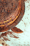 Cocoa and cakes. Delicious chocolate cake on a tray Royalty Free Stock Photography