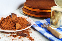 Cocoa and cakes. Different ingredients for chocolate cake Stock Photos