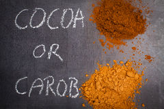 Cocoa and carob powder. Stock Photos