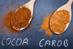 Cocoa and carob powder. Stock Images