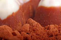Cocoa and chocolate. Cocoa and chocolate in the background Stock Photography