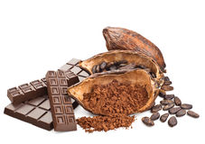 Cocoa and chocolate isolated on a white Royalty Free Stock Photo