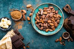 Cocoa. Cocoa beans, dark bitter chocolate chunks, cacao butter and cocoa powder stock image