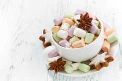 Cocoa with colorful marshmallows and Christmas cookies Royalty Free Stock Image