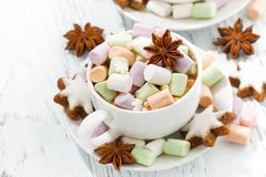 Cocoa with colorful marshmallows in cups and Christmas cookies Stock Photos