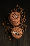 Cocoa cookies with coffee beans Stock Images