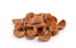 Cocoa crunch cornflakes on white background Stock Photography