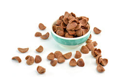 Cocoa crunch cornflakes on white background Royalty Free Stock Photos