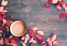 Cocoa in a cup and red autumn leaves on a wooden background Royalty Free Stock Photography