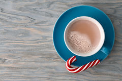 Cocoa cup with a striped candy cane Royalty Free Stock Images