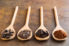 Cocoa and dark chocolate in wooden spoons Stock Image
