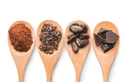 Cocoa and dark chocolate in wooden spoons Stock Photos