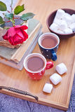 Cocoa drink in cups Royalty Free Stock Images