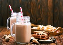 Cocoa drink. In glass and on a table Stock Photo