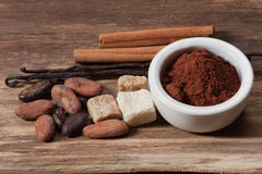 Cocoa drink ingredients Royalty Free Stock Images