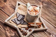 Cocoa drink with marshmallows Stock Images