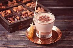 Cocoa drink and organic cocoa beans. Royalty Free Stock Photo