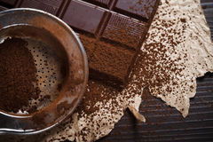 Cocoa dust on silver sieve Royalty Free Stock Photography