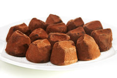 Cocoa dusted chocolate truffles Stock Photography