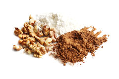 Cocoa, floor and nuts  Royalty Free Stock Photo