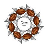 Cocoa frame. Vector superfood drawing template. Fruit, leaf and bean engraving. Organic healthy food sketch. stock illustration