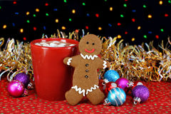 Cocoa and a gingerbread cookie Stock Image