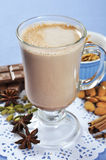 Cocoa in a glass cup Royalty Free Stock Photo