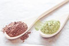 Cocoa and green tea powder heap Stock Image