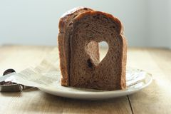Cocoa Heart shaped  bread Royalty Free Stock Images