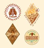 Cocoa and hot chocolate logos. modern vintage badges for the shop menu. Vector illustration. calligraphy style for. Frames, labels. . engraved hand drawn in old stock illustration