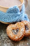 Cocoa and Linzer Cookie . Stock Photo