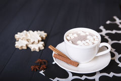Cocoa with marshmallow and cookie Royalty Free Stock Image