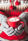 Cocoa with marshmallow. Warm winter photo which hands in knitted gloves holding a mug cocoa with marshmallow Stock Photos