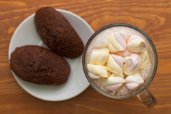 Cocoa with marshmallows and cakes Stock Images