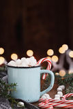 Cocoa with Marshmallows and Candy Canes Royalty Free Stock Image