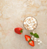 Cocoa with marshmallows and strawberries Stock Image