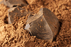 Cocoa mass and cocoa powder Stock Photo