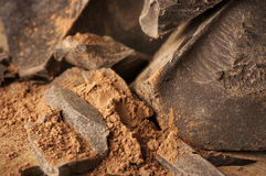 Cocoa mass and cocoa powder Stock Photos