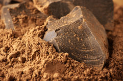 Cocoa mass and cocoa powder Royalty Free Stock Photography