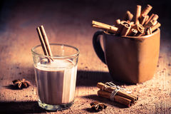 Cocoa milk with cinnamon bark Royalty Free Stock Image