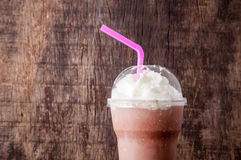 Cocoa milkshake topping with whipping cream Stock Photos