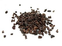 Cocoa nibs. Unground cocoa nibs on a white background stock image