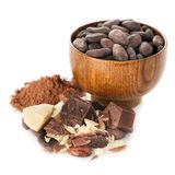 Cocoa oil ( butter), cocoa beans, cocoa powder and dark chocolate Royalty Free Stock Photos