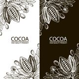 Cocoa packages set. Collection of cocoa packages with beans, branch and leaves stock illustration