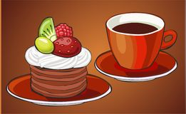Cocoa and pancakes Stock Photo