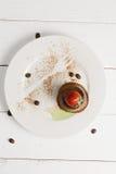 Cocoa panna cotta overhead Royalty Free Stock Image